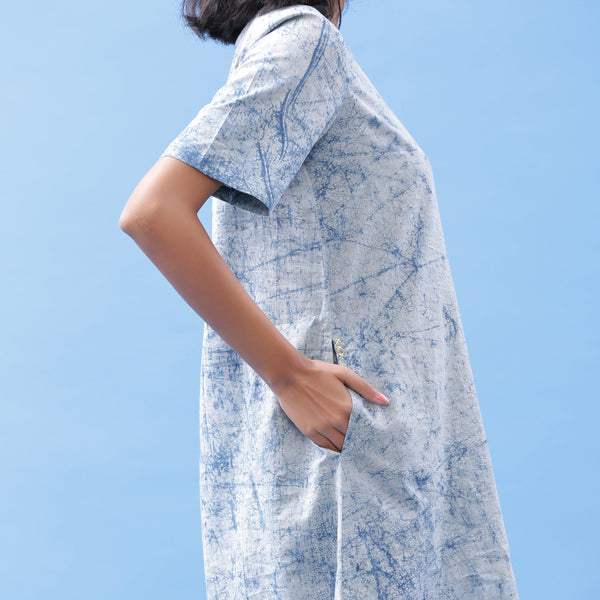 Right Detail of a Model wearing Indigo Dabu Print Cotton A-Line Dress