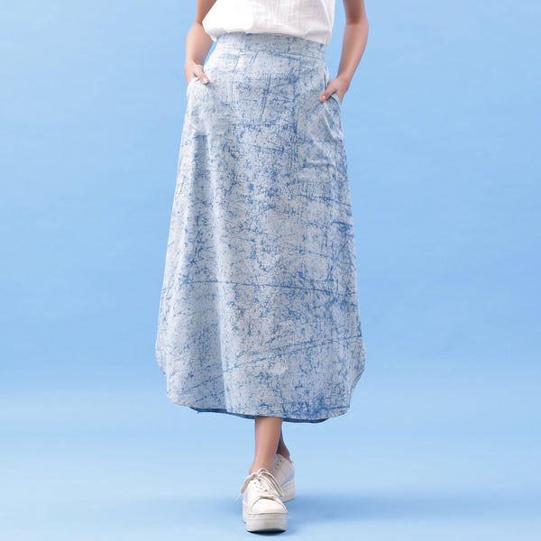 Front View of a Model wearing Indigo Dabu Printed Breezy A-Line Skirt