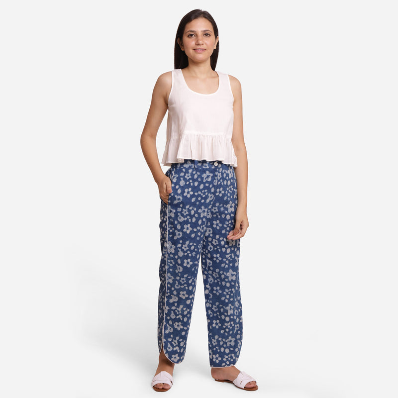 Front View of a Model wearing Indigo Floral High-Rise Pants