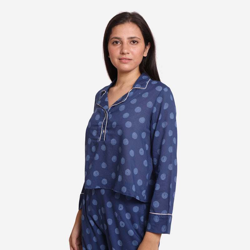 Left View of a Model wearing Dabu Block Printed Button-Down Shirt
