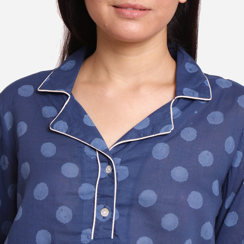 Front Detail of a Model wearing Dabu Block Printed Button-Down Shirt