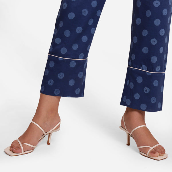 Close View of a Model wearing Indigo Polka Dot Block Print Straight Pant