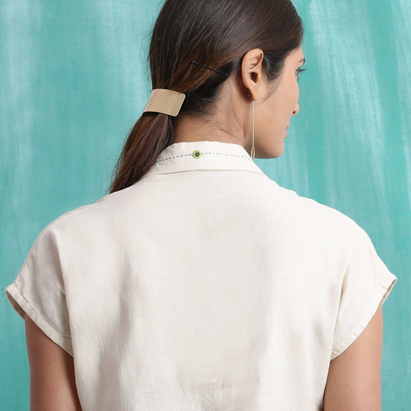 Back Detail of a Model wearing Ivory Handspun Relaxed Mirror Work Shirt