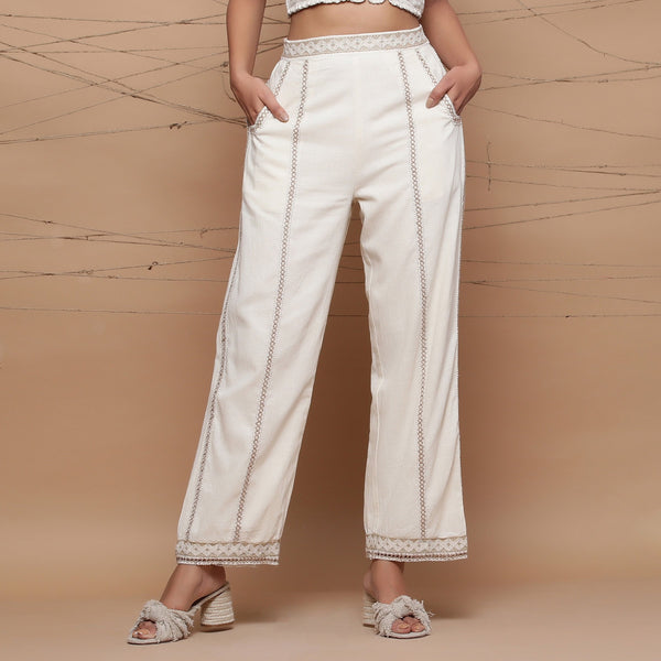 Front View of a Model wearing Jute Laced Cotton Ecru Straight Pant