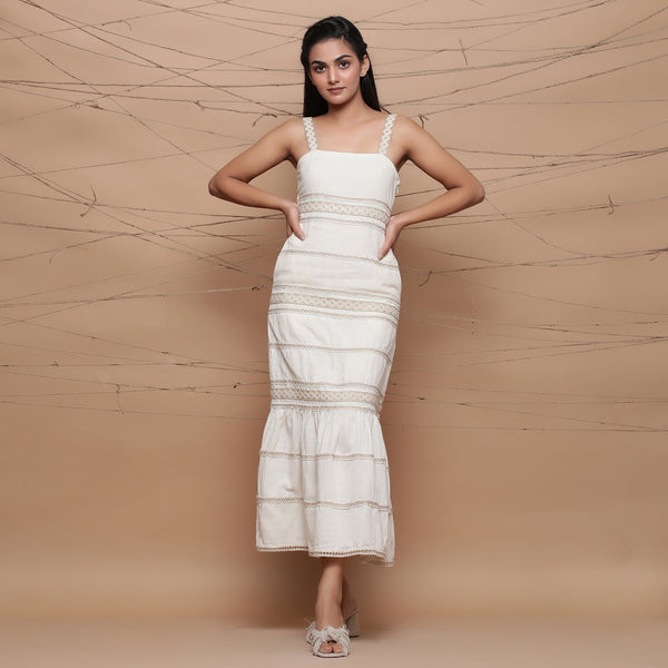 Front View of a Model wearing Jute Laced Undyed Ivory Sheath Dress