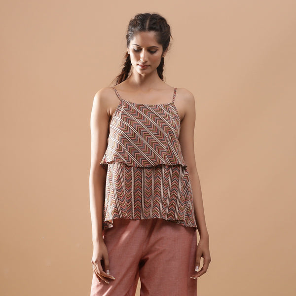 Front View of a Model wearing Kalamkari Breezy Tiered Camisole Top