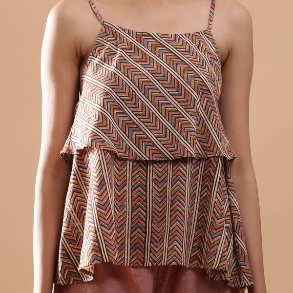 Front Detail of a Model wearing Kalamkari Strappy Tiered Camisole Top