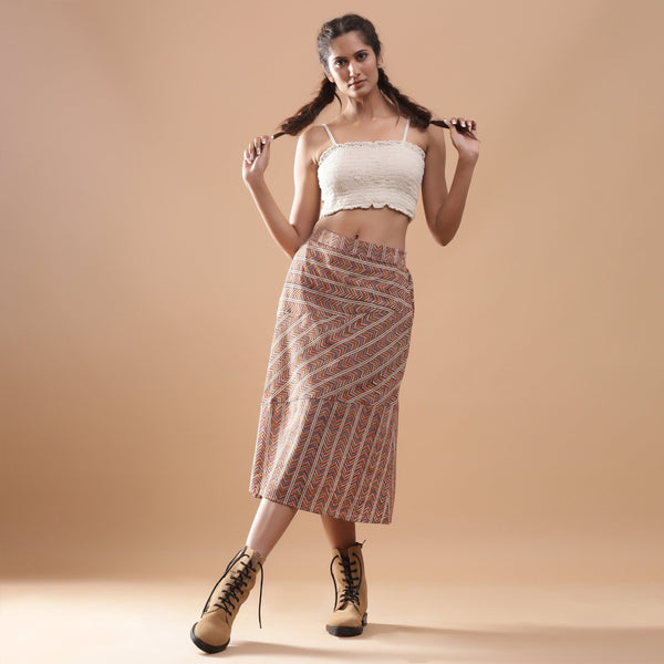 Front View of a Model wearing Kalamkari Chevron Striped Paneled Skirt