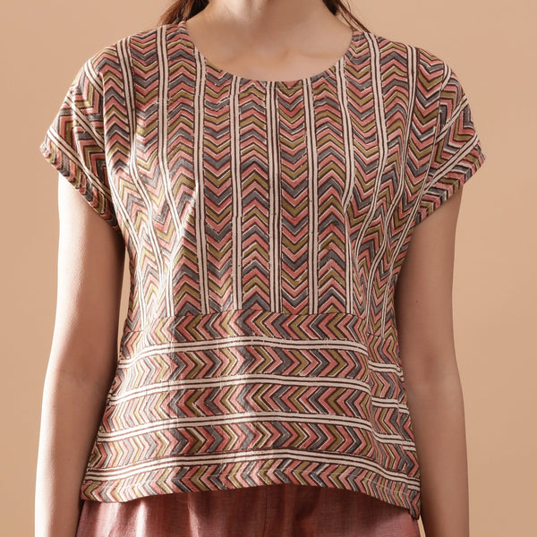 Front Detail of a Model wearing Kalamkari Cotton Chevron Yoked Top