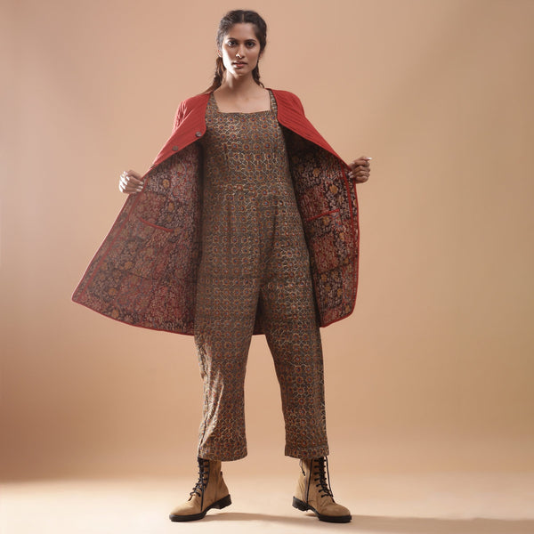 Front View of a Model wearing Reversible Quilted Kalamkari Jacket