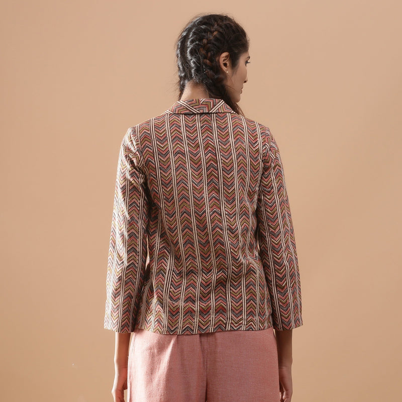 Back View of a Model wearing Kalamkari Warm Double-Breasted Jacket
