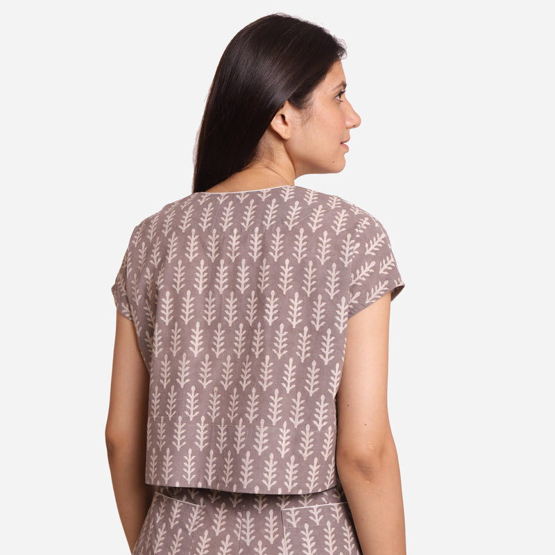 Back View of a Model wearing Grey Dabu Block Print V-Neck Crop Top