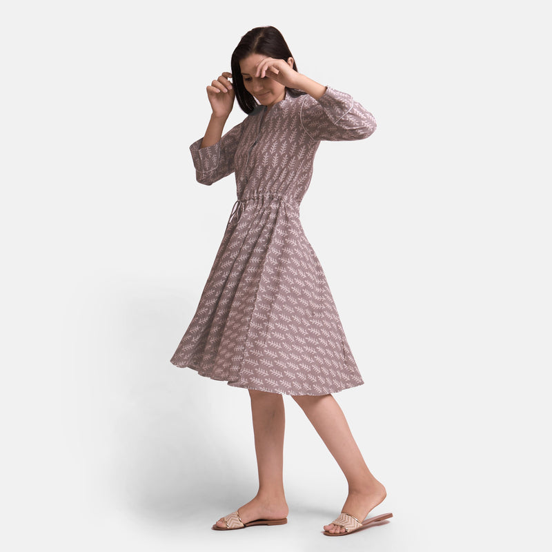Left View of a Model wearing Kashish Botanical Pattern Button-Down Dress