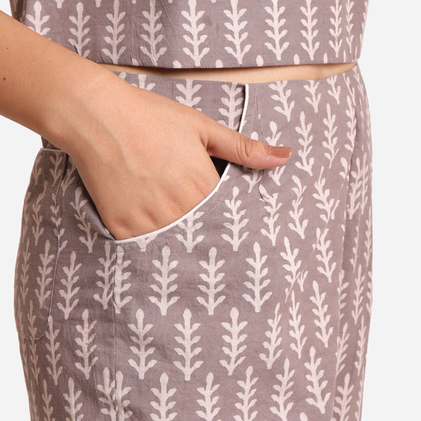 Right Detail of a Model wearing Dabu Block Print Grey Mid-Rise Culottes
