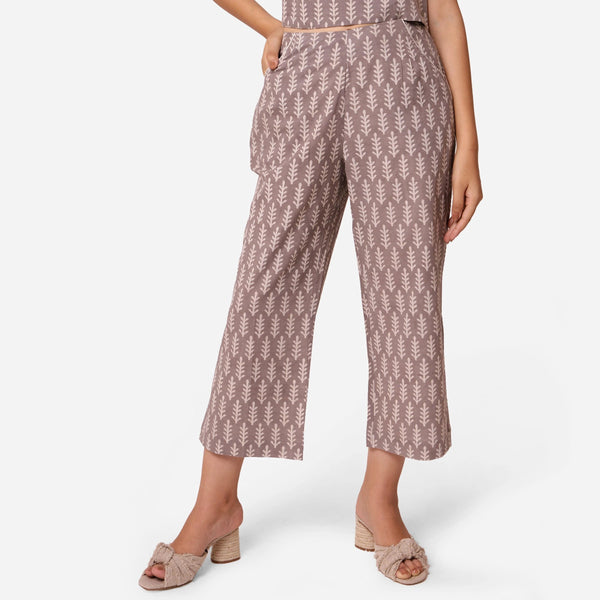 Front View of a Model wearing Dabu Block Print Grey Mid-Rise Culottes
