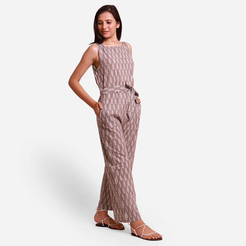 Right View of a Model wearing Grey Dabu Block Print Straight Jumpsuit