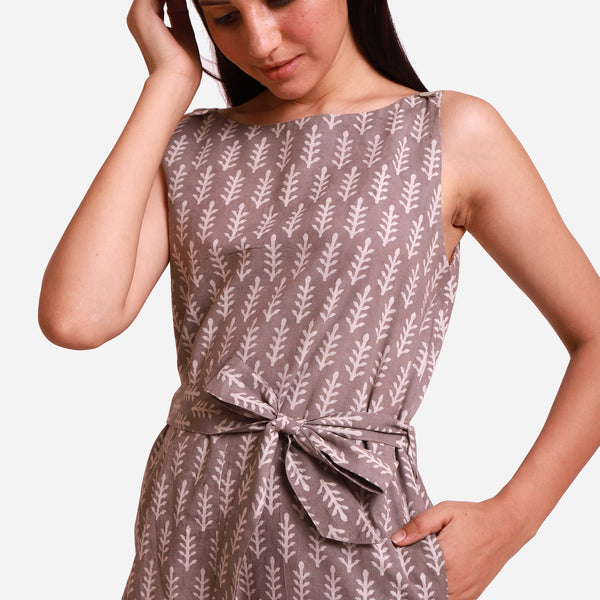 Front Detail of a Model wearing Grey Dabu Block Print Straight Jumpsuit