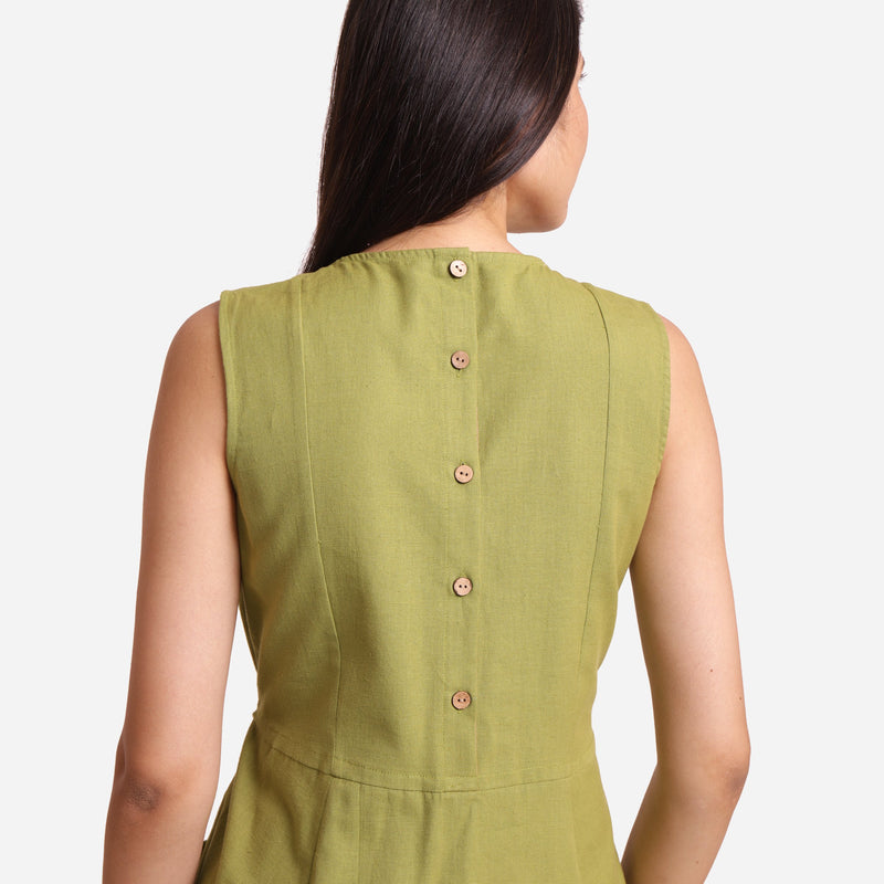 Back Detail of a Model wearing Khaki Green Patch Pocket Round Neck Dress