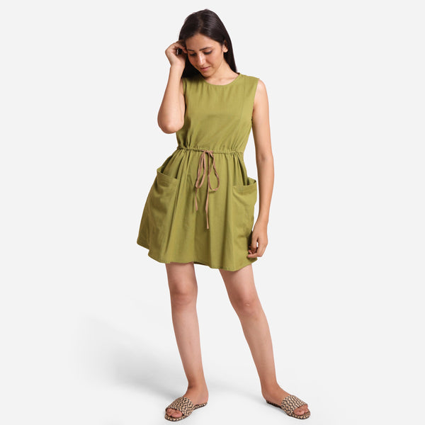 Front View of a Model wearing Khaki Green Patch Pocket Round Neck Dress