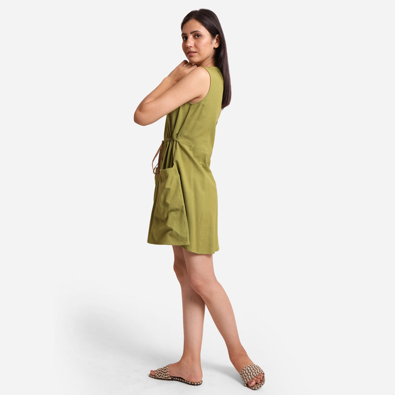 Left View of a Model wearing Khaki Green Patch Pocket Round Neck Dress