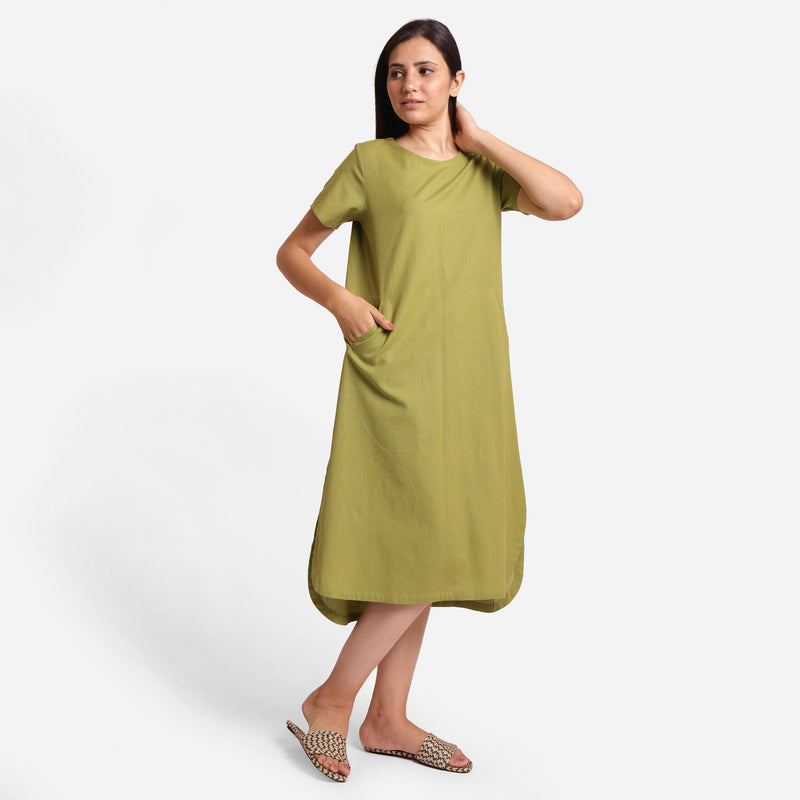 Front View of a Model wearing Khaki Green Cotton Welt Pocket Dress