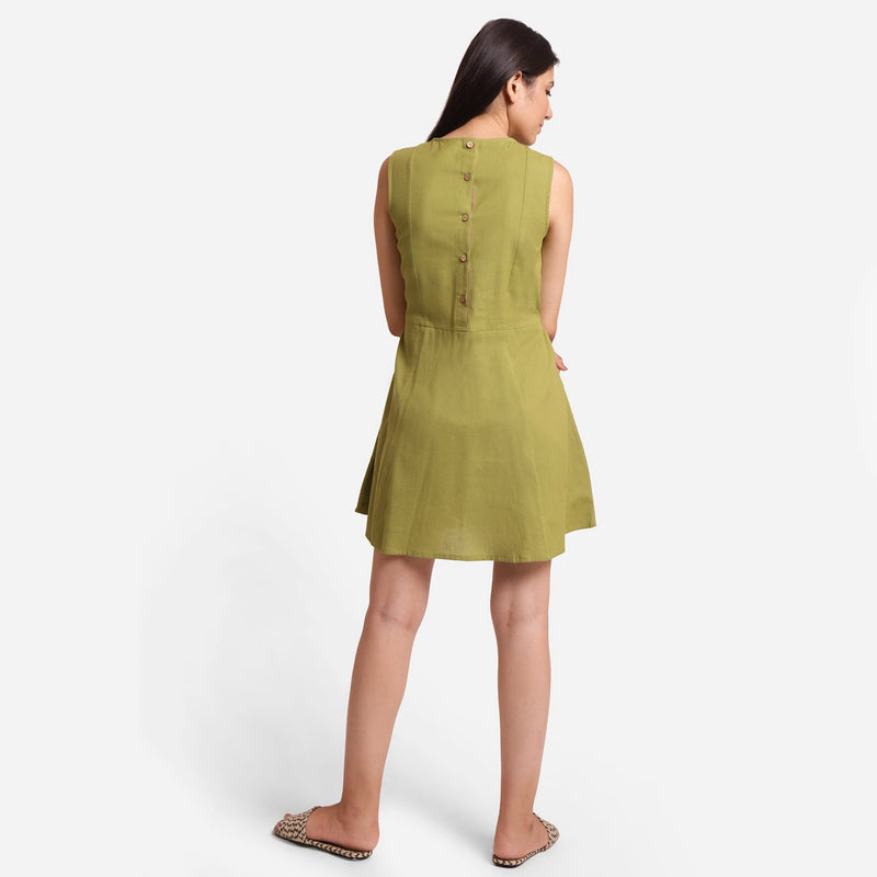 Back View of a Model wearing Khaki Green Patch Pocket Round Neck Dress