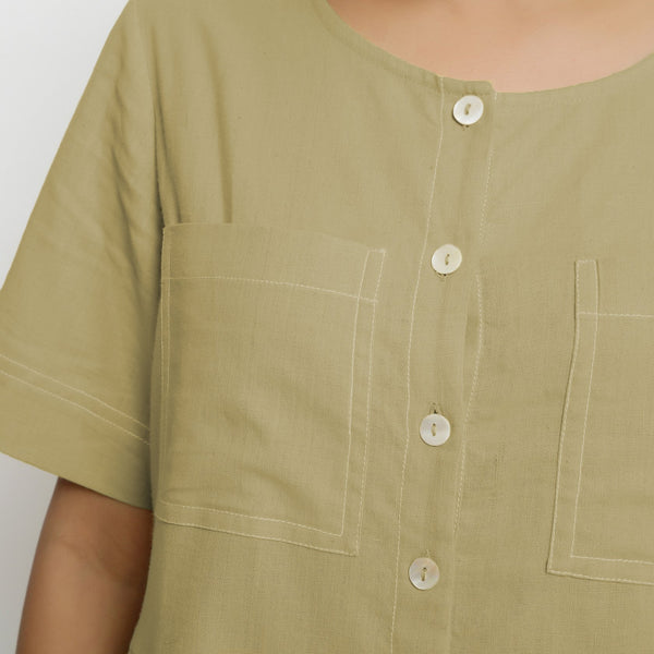 Front Detail of a Model wearing Khaki Green Vegetable Dyed Romper
