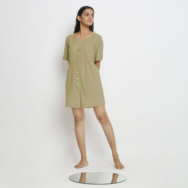 Front View of a Model wearing Khaki Green Vegetable Dyed Romper
