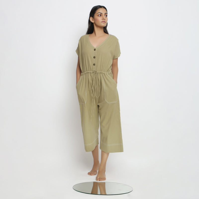 Front View of a Model wearing Vegetable Dyed Button-Down Jumpsuit