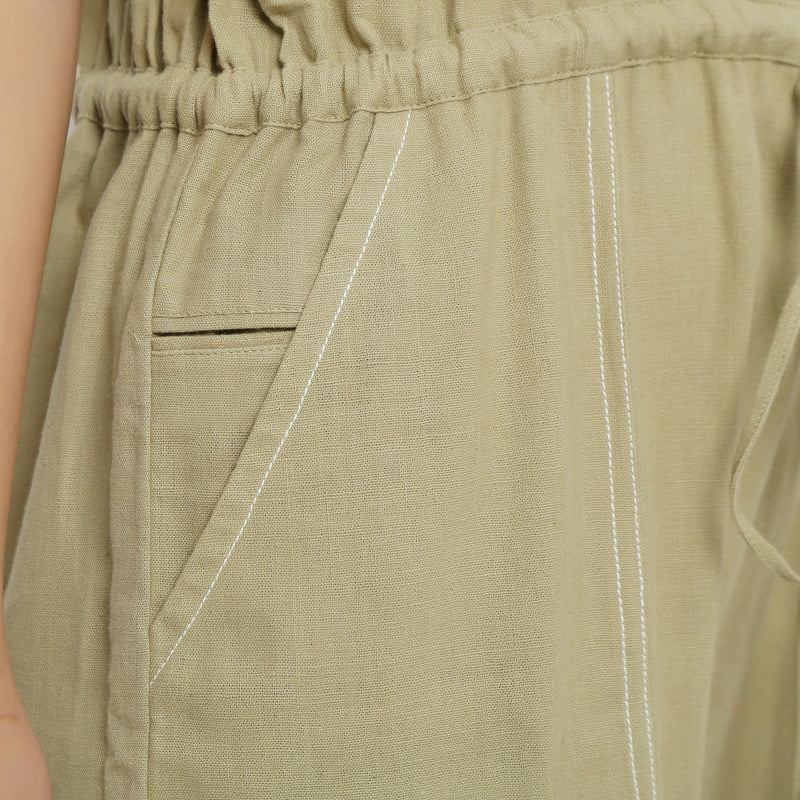 Right Detail of a Model wearing Khaki Green Vegetable Dyed Straight Jumpsuit