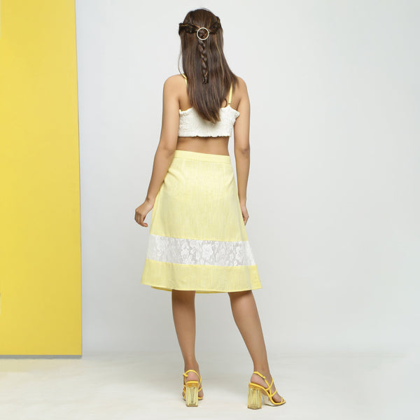Back View of a Model wearing Hand Embroidered Cotton A-Line Skirt