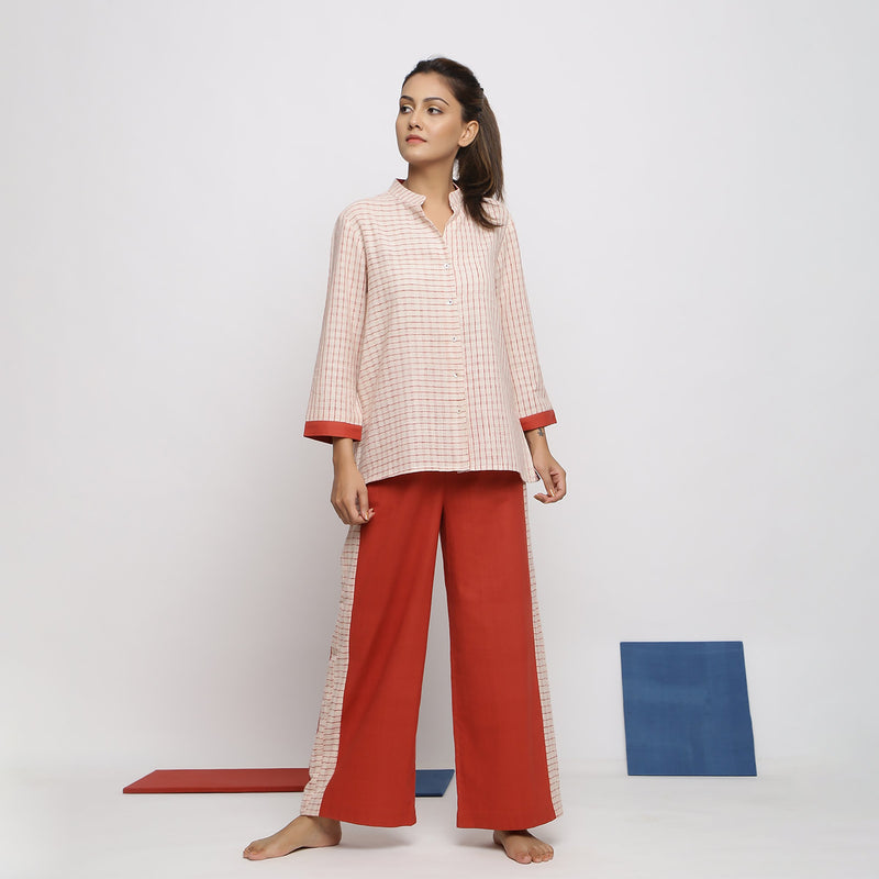 Front View of a Model wearing Laid Back Checkered Shirt and Straight Pant Set