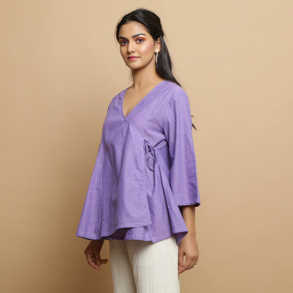 Left View of a Model wearing Lavender Mangalgiri Cotton Asymmetrical Top