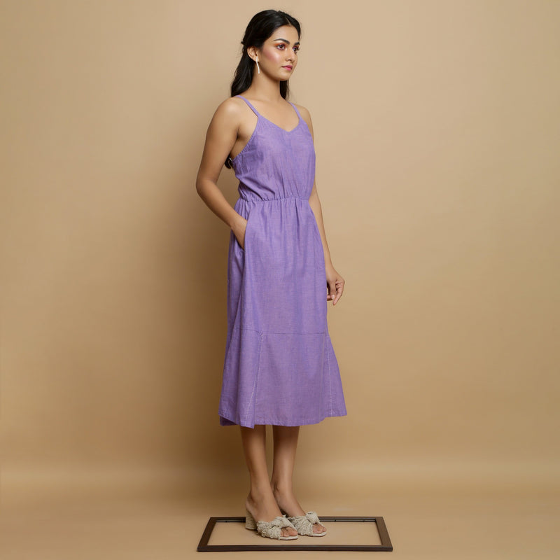 Right View of a Model wearing Hand-Embroidered Lavender Godet Dress
