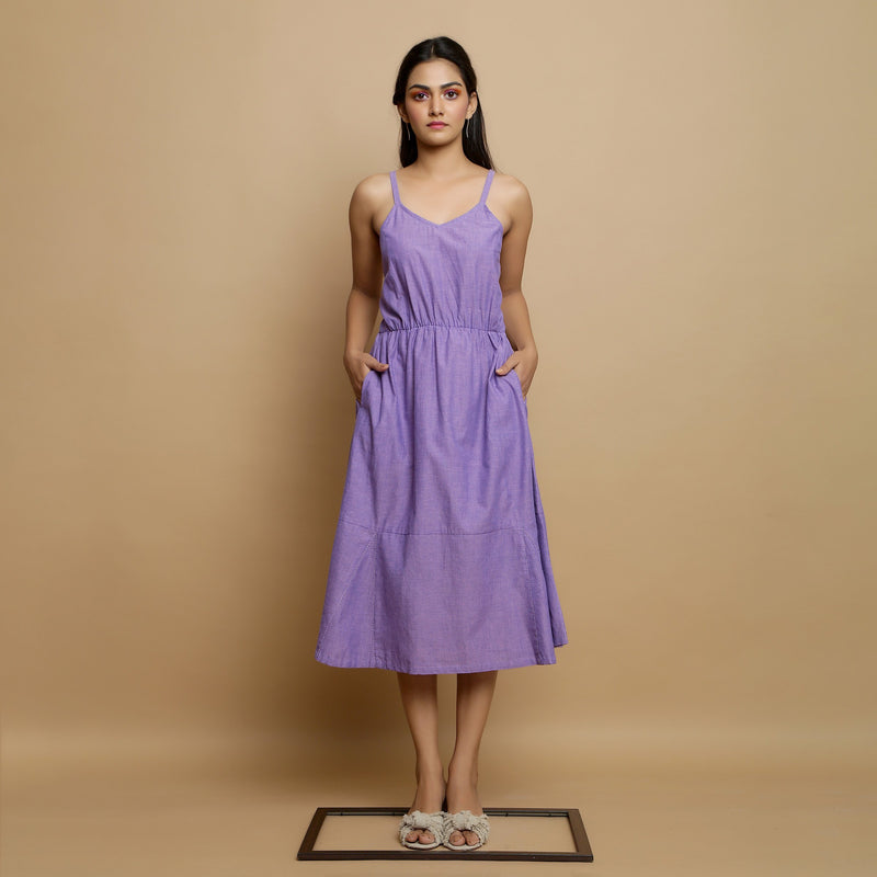 Front View of a Model wearing Hand-Embroidered Lavender Godet Dress