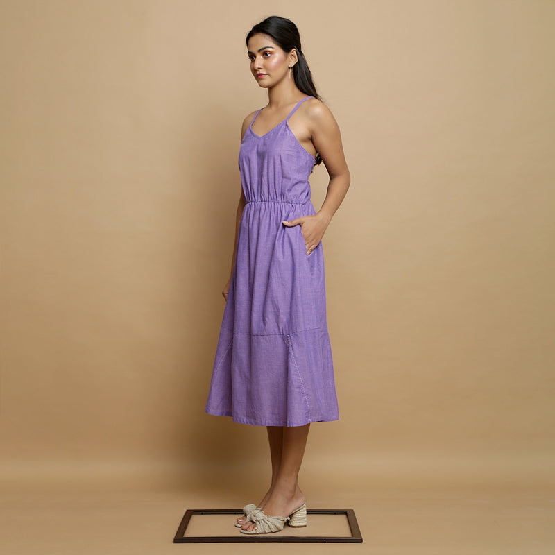 Left View of a Model wearing Hand-Embroidered Lavender Godet Dress