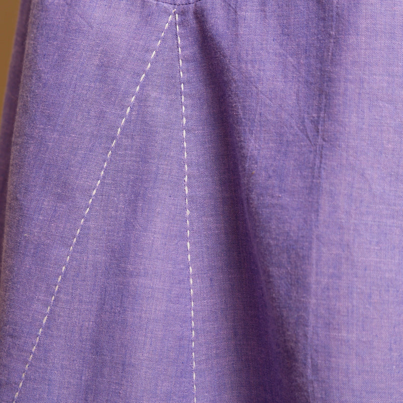 Close View of a Model wearing Lavender Hand-Embroidered Camisole Dress