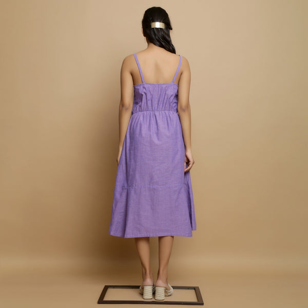 Back View of a Model wearing Hand-Embroidered Lavender Godet Dress