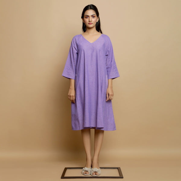 Front View of a Model wearing Lavender Hand-Embroidered Godet Dress