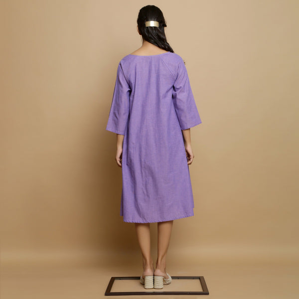 Back View of a Model wearing Lavender Hand-Embroidered Godet Dress