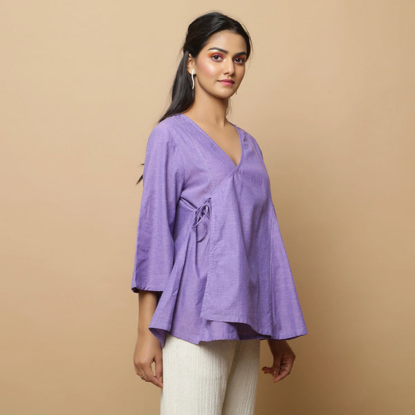 Right View of a Model wearing Lavender Mangalgiri Cotton Asymmetrical Top