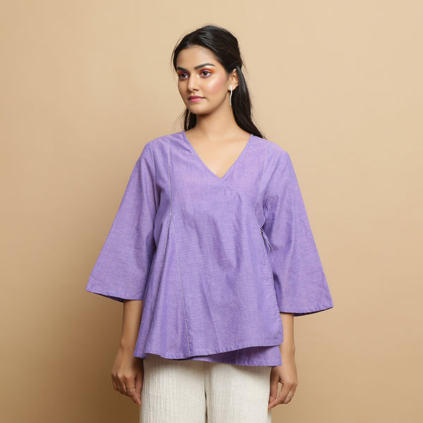 Front View of a Model wearing Lavender Mangalgiri Cotton Asymmetrical Godet Top