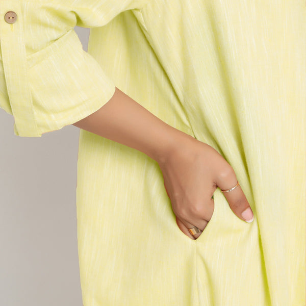 Right Detail of a Model wearing Lemon Yellow Lapel Collar Overlay