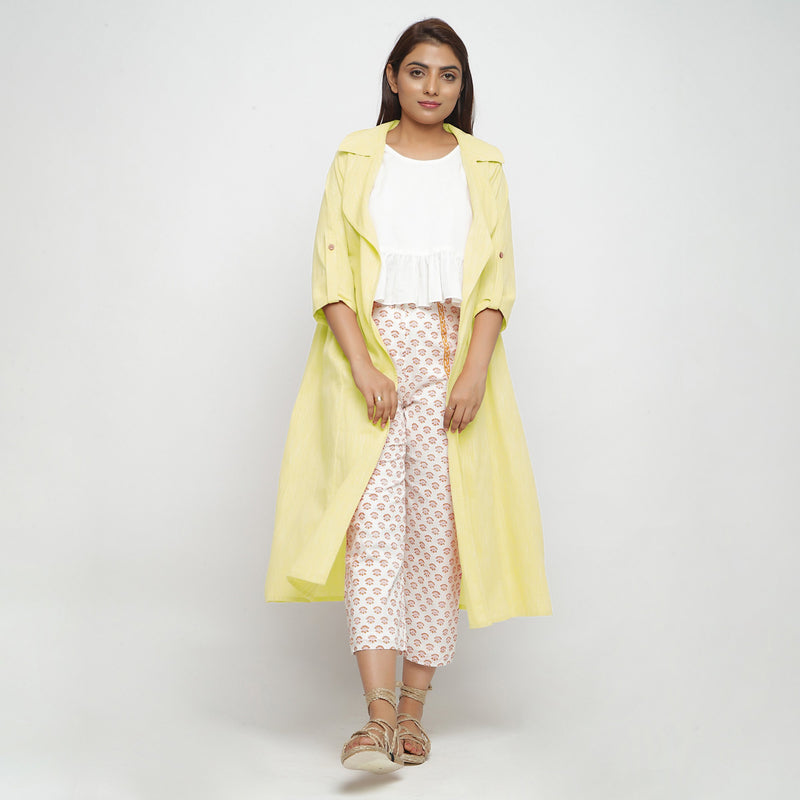 Front View of a Model wearing Lemon Yellow Lapel Collar Overlay