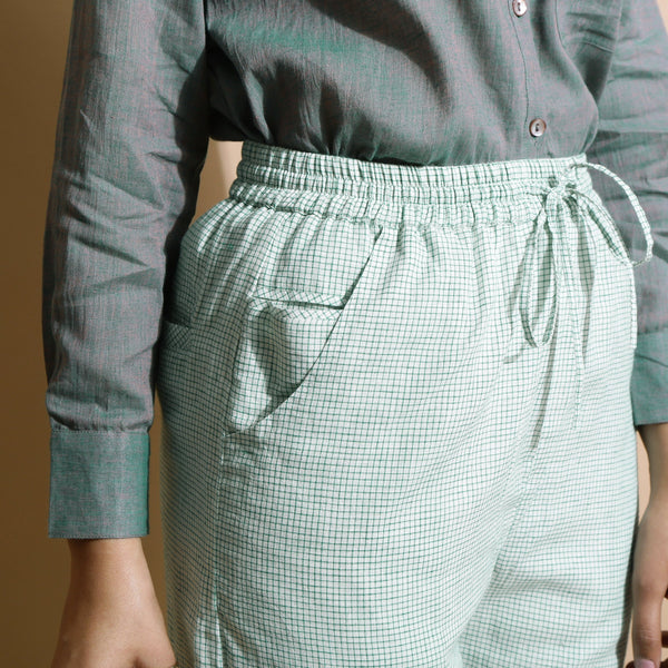 Front Detail of a Model wearing Light Green Handspun Straight Pant