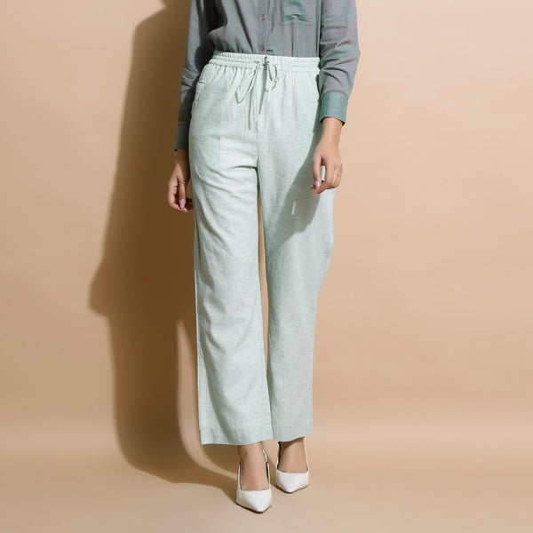 Front View of a Model wearing Light Green Handspun Straight Pant