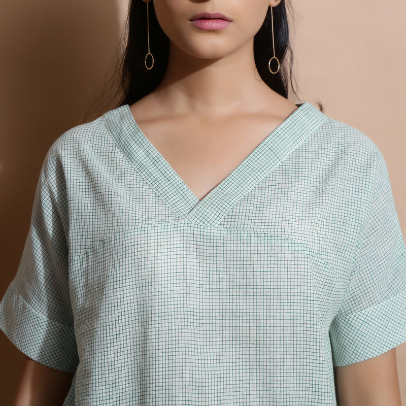 Front  Detail of a Model wearing Light Green Cotton Straight Fit Top