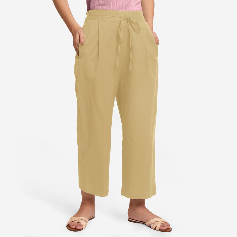 Front View of a Model wearing Light Khaki Cotton Flax Wide Legged Pant