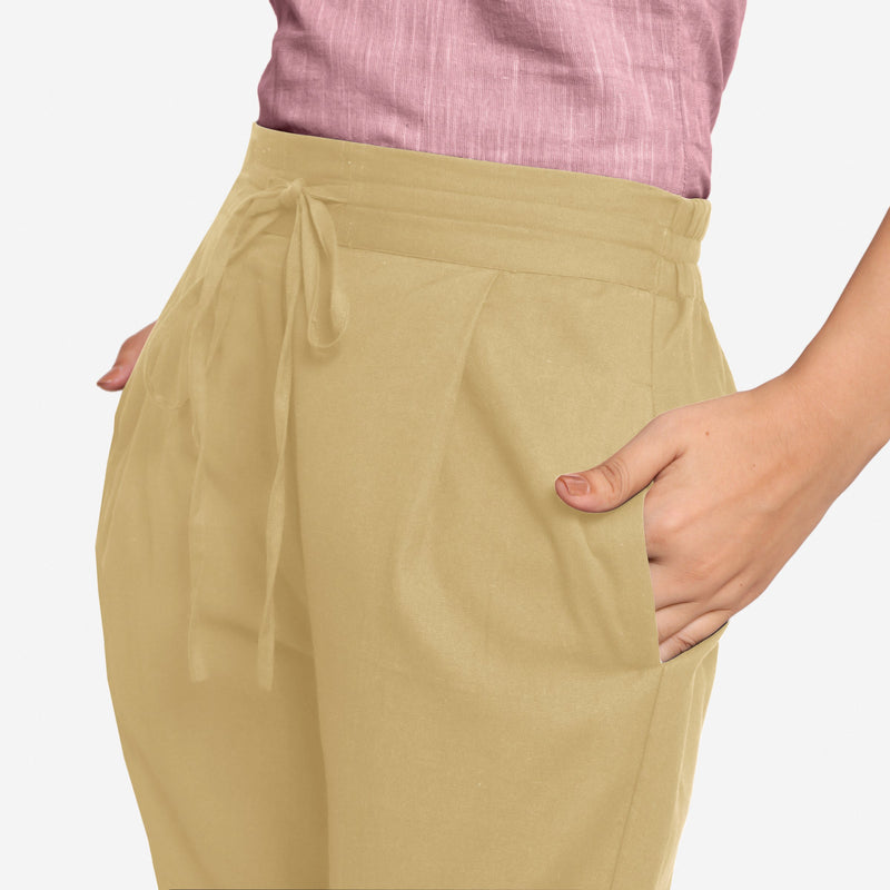Front Detail of a Model wearing Light Khaki Cotton Flax Wide Legged Pant