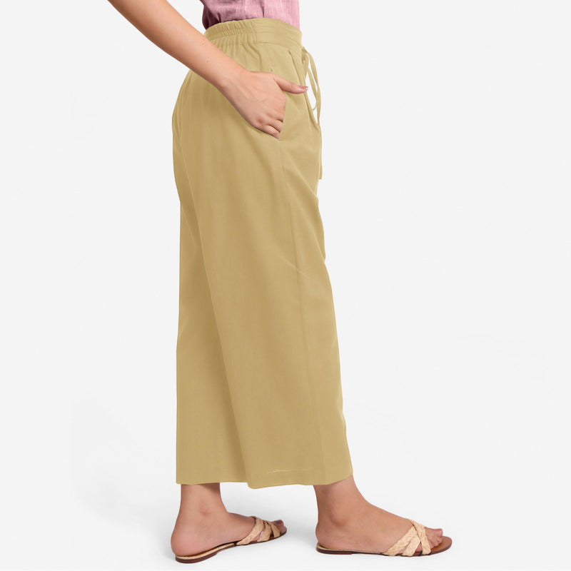 Right View of a Model wearing Light Khaki Cotton Flax Wide Legged Pant